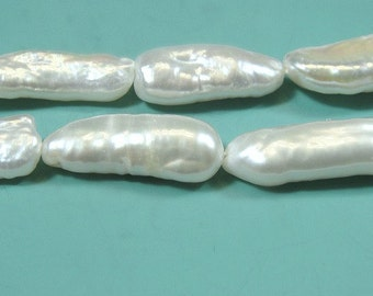 Biwa Stick White Freshwater Pearl Lusterous Beads 21-30MM long x 8mm wide approx  1/2 Strand
