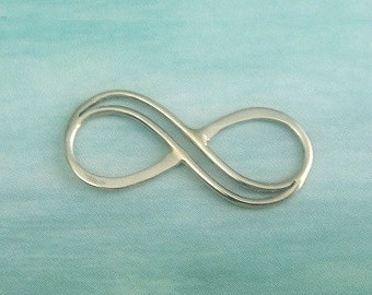 Sterling Silver Link, Infinity Eternity Double Wire Link, 4 PC,  COUPON SALE 20x9.5mm thickness .75mm