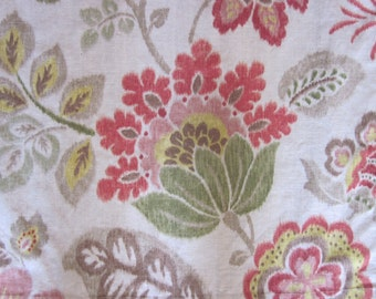 Pair of Linen Floral Ikat Drapery Panels Curtains