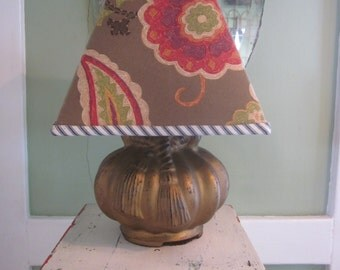 Antique Gilded Glass Tassle Lamp with Handmade Shade