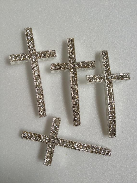 Pc silver sideways cross connector pendant link