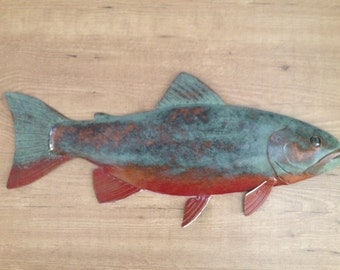 Brook Trout Metal Wall Fish Sculpture Lodge Cottage Lake Cabin Art