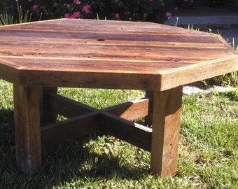 YOUR Custom Made Rustic Reclaimed Barn Wood Octagon Farmhouse Dining Table or Conference Table FREE SHIPPING-RBWOFD1800F