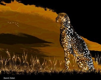 Cheetah Art, Big Cat, Orange Black, Africa Safari, Decorative Art, Digital Print, African Home Decor, Wall Hanging, Giclee Print, 8 x 10