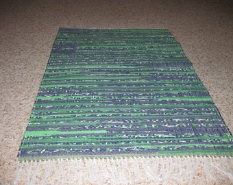 Handwoven Navy and Green Rag Rug 25 x 41