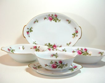 Sango Moss Rose Serving Pieces, Bowls, Platter And Gravy Boat