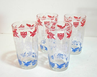 Vintage Spirit Of 1776 Americana Drinking Glasses