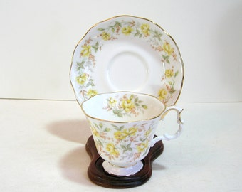 Royal Albert Yellow Ribbon Teacup And Saucer, English Bone China
