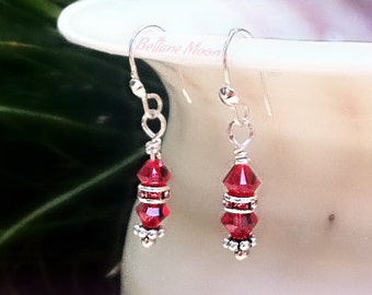 Ruby Red, Crystal Earrings, Shimmering Dangles, Sterling Silver