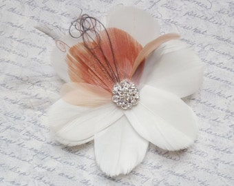 RIVIERA in Dusty Rose and Grey - Multi Layer Bloom Bridal Flower Fascinator - customizable