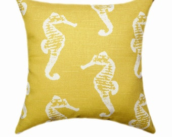 Premier Prints Sea Horse Corn Yellow and White Decorative Throw Pillow - Free Shipping