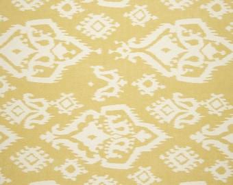 CLEARANCE - Premier Prints Raji Modern Ikat Print Decorative Throw Pillow in Saffron Yellow and Natural - Free Shipping