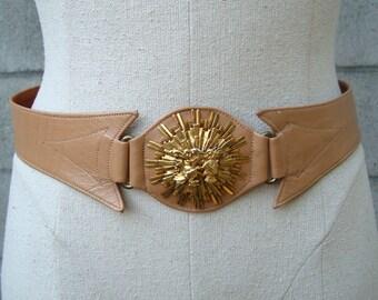 Wide Leather Belt Vintage 1960s Wide Crest Horse