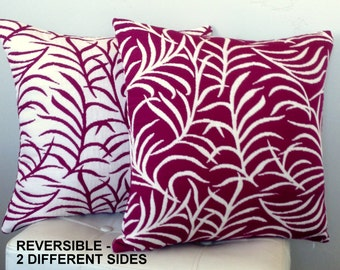 REVERSIBLE Pillow Cover - Purple and White Pillow - Modern Purple Pillow - Plum Accent Pillow - Designer Pillow - Plum Bedding