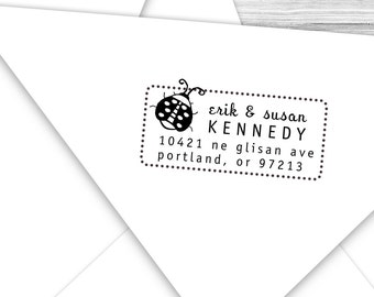Custom address stamp with cute little ladybug--123TS