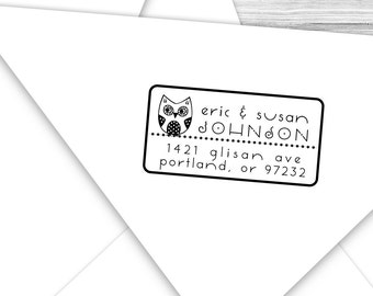 Custom return address stamp with cute little owl--121TS