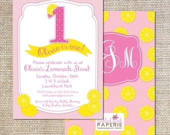 Pink Lemonade Birthday Party Invitation