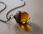 Glass Acorn Necklace in Streaky Transparent Topaz by Bullseyebeads