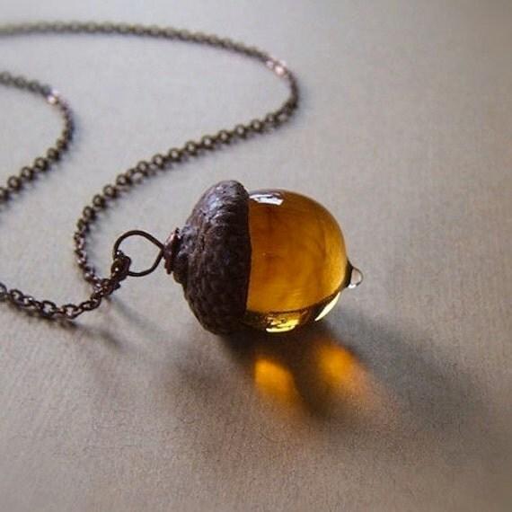 Glass Acorn Necklace in Streaky Transparent Topaz by Bullseyebeads
