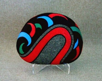 Unique Art 3D Art One Of A Kind Painted Rock Red and Black Blue and Green Home Decor Office Gift Office Decor Gift For Him Gift For Her
