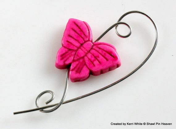 Pink Brooch Butterfly Handmade Pin at Shawl Pin Heaven on Etsy