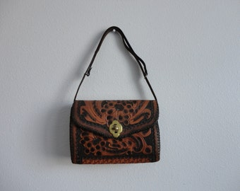 VINTAGE 70s tooled FLORAL leather PURSE