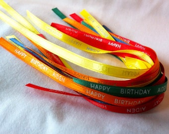 25 pcs 3/8 inch Custom Printed Personalized Ribbons - Your Color of Choice