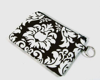 Damask coin purse, credit card pouch with key ring