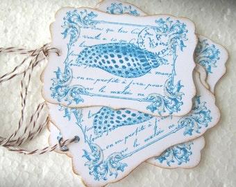 Glittery French Seashell Wedding Wish Gift Tags