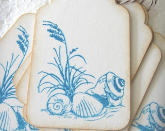 Seashell and Beach Grass Gift Tags