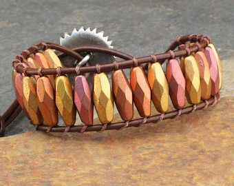 Czech Glass Leather Bracelet - Sunflower