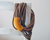 Loops neckwarmer, knit necklace, tube scarf.  Hazelnut brown and mustard yellow. Winter accessories