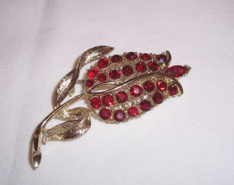 Vintage Brooch with Red Rhinestones