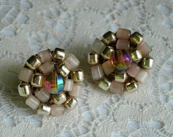 Vintage Vogue Clip On Earrings with Aurora Borealis Beads - Clip Ons