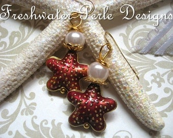 Starfish And Pearls Earrings