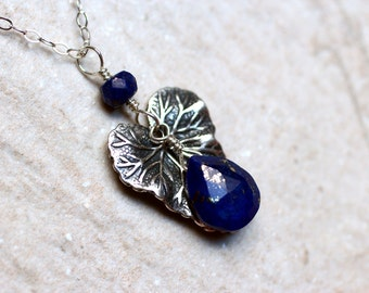 Lapis Necklace, Lapis Lazuli Necklace with Leaf Accent on Sterling Silver - Anarya by CircesHouse on Etsy