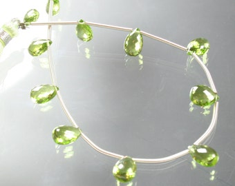 """8"""" strand AA Peridot Faceted Pear Briolettes"""