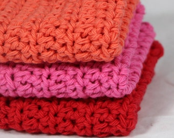 Crochet Dishcloths Washcloths in Hot Colors Set of 3