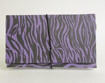 Coupon Organizer  Accordion File Book Zebra Stripe Purple