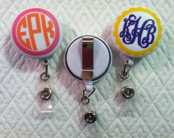 Monogrammed Badge Reel ID Holder Badge Pull BELT CLIP - Students Nurses Doctors Corporate