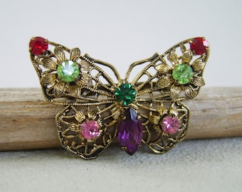 Vintage Rhinestone Butterfly Brooch Brass Filigree