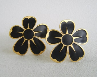 Vintage Black Flower Earrings Large Clip On by Tat
