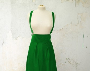 Green High Waisted Skirt with Removable Suspenders, also available in Black, and Red Cotton Gabardine