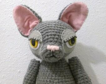 Gray Cat with Heterochromia amigurumi toy animal