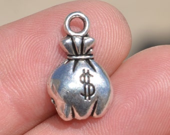 BULK 50  Silver Money Bag Charms SC3001
