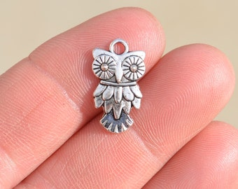 10  Silver Owl Charms SC1390