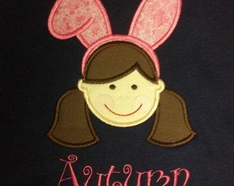 Easter Bunny Girls Custom Personalized Shirt
