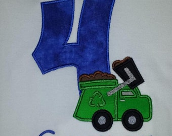 Garbage Truck Birthday Shirt Boutique Custom Personalized Boys or Girls Name Included