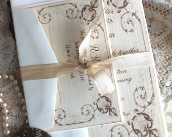 Romantic Vintage Wedding Invitation with Fancy Frame Handmade SAMPLE by avintageobsession on etsy