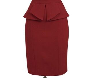 Peplum Skirts, peplum pencil skirt, Custom Fit, Handmade, Fully Lined